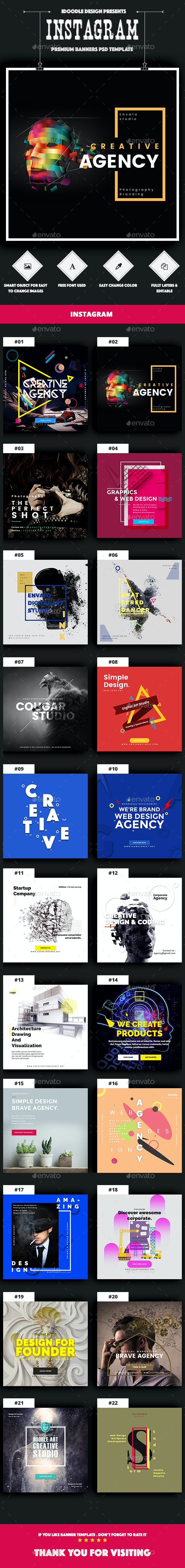 Agency Instagram Banners Ads - 22 PSD - Social Media Web Elements