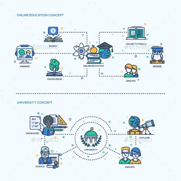 Online Education, University Icons Concept