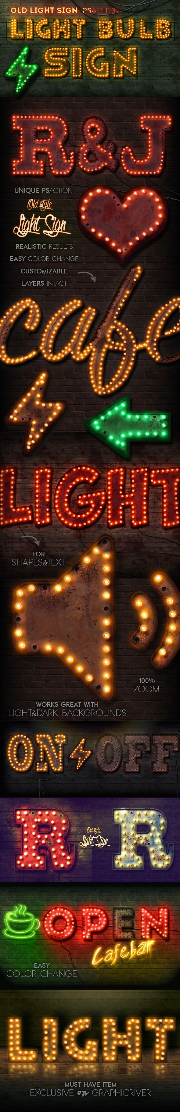 Old Light Sign Photoshop Action - Text Effects Actions