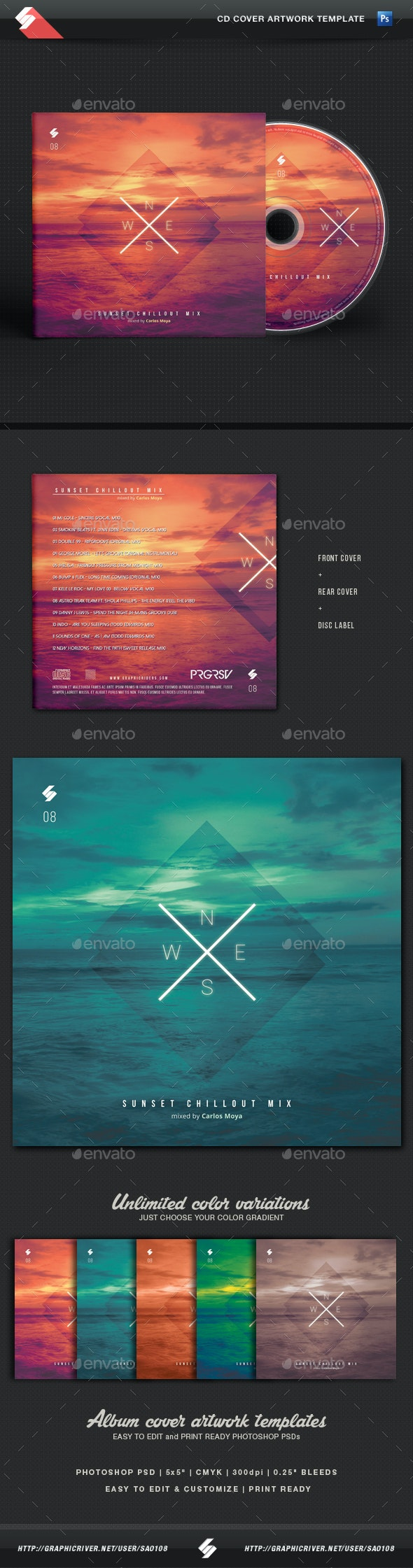 Sunset Chillout - CD Cover Template - CD & DVD Artwork Print Templates