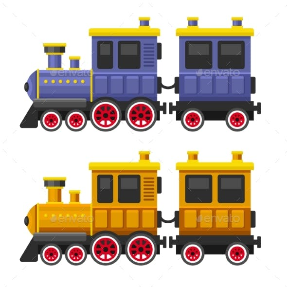 Simple Style Color Toy Trains and Wagons Set