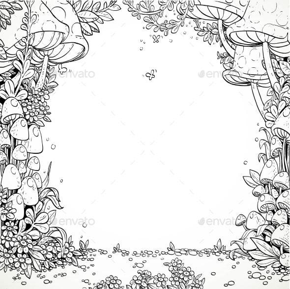 Fairytale Decorative Mushrooms and Flowers - Flowers & Plants Nature