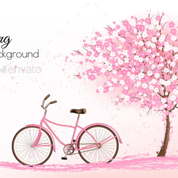 Spring Background with a Blossoming Tree and Bike