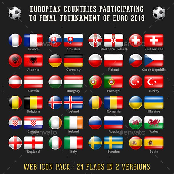 2016 Euro Cup - Flags of Participants Countries