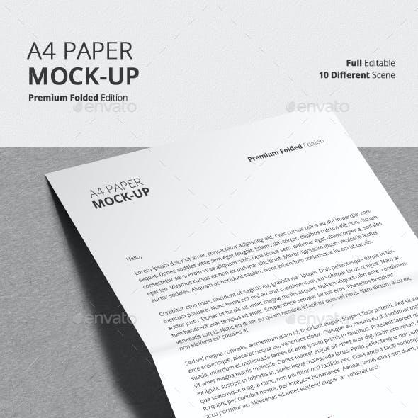 A4 Folded Paper Mock-Up