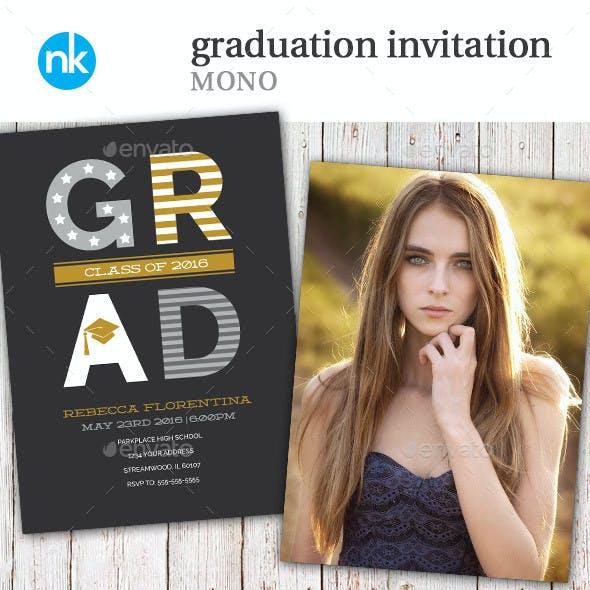 Graduation Invitation - Mono