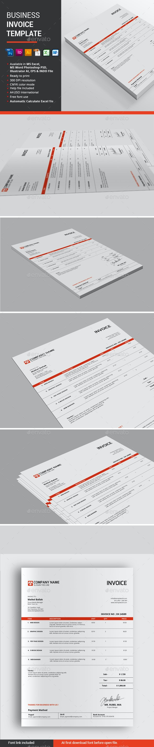 Business Invoice Template - Proposals & Invoices Stationery