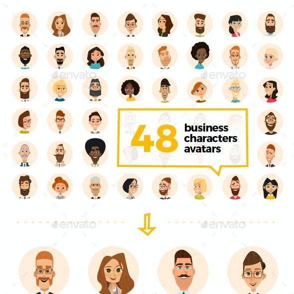 48 Business Cartoon Avatars