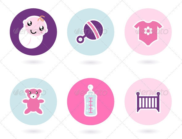 Baby icons and accessories set isolated on white  - Man-made Objects Objects