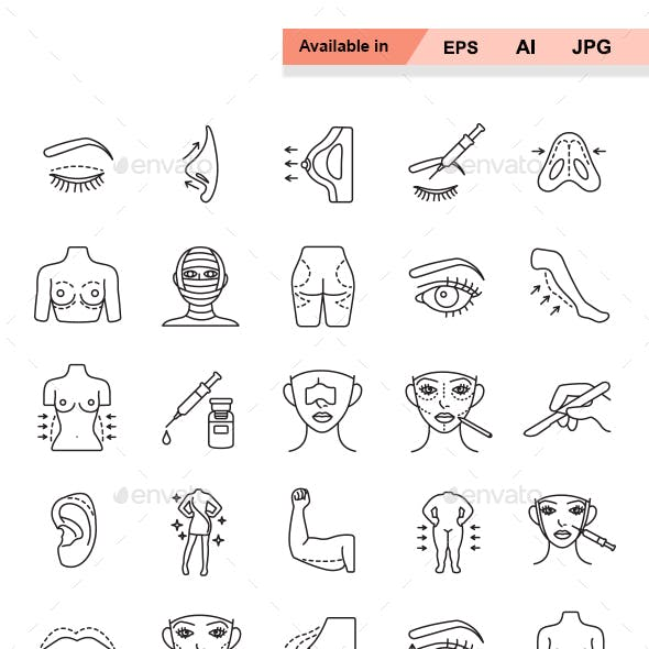 Plastic surgery outlines vector icons