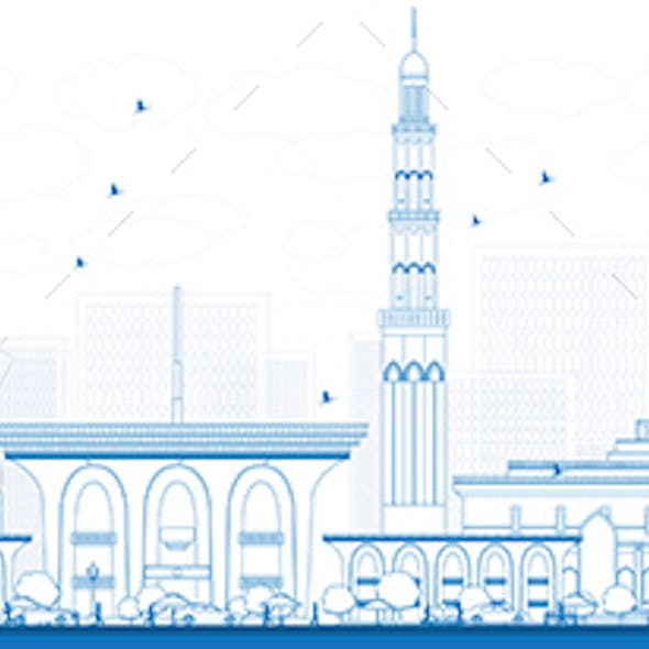 Outline Muscat Skyline with Blue Buildings