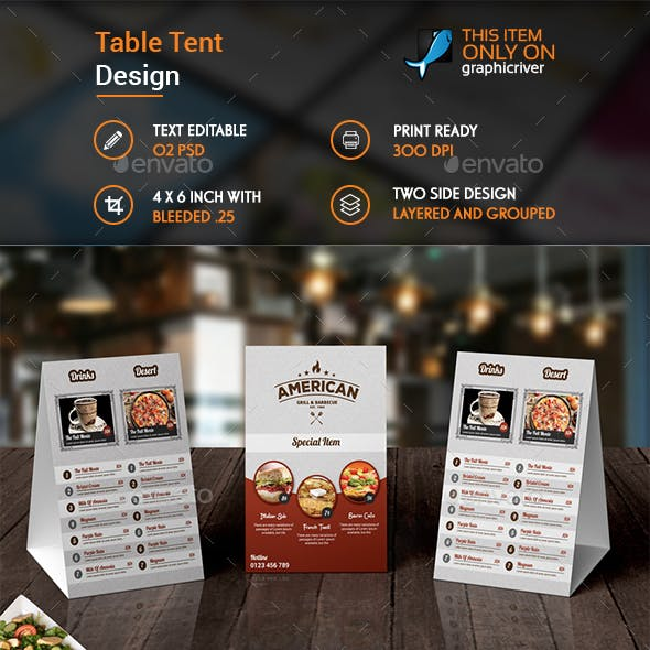 Multiperpose Restaurent Table Tent Template