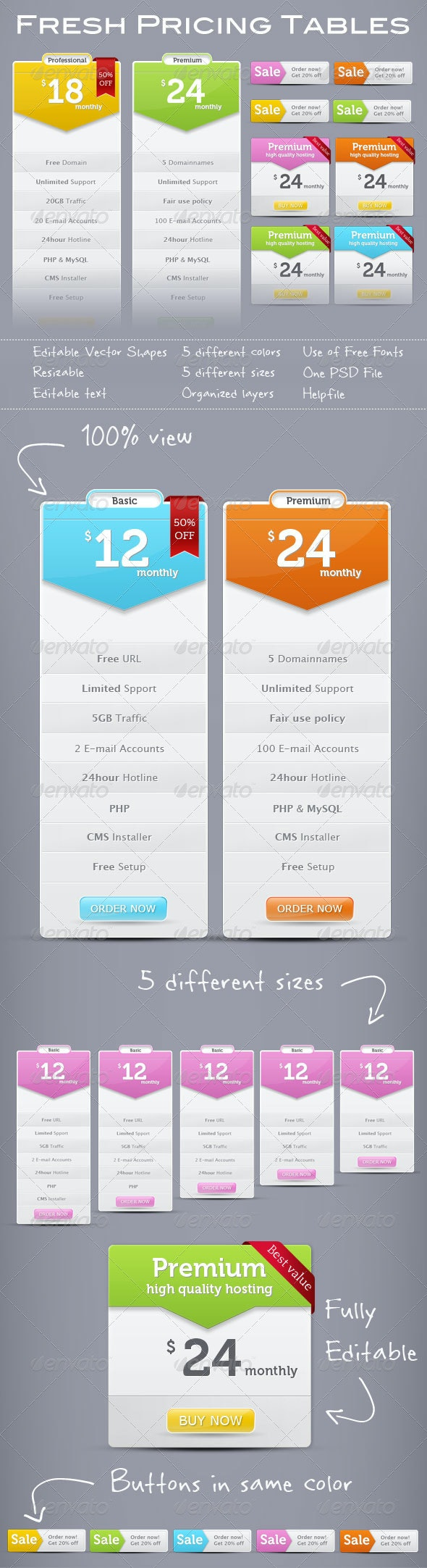 Extensive Set of Trendy Pricing Tables - Tables Web Elements