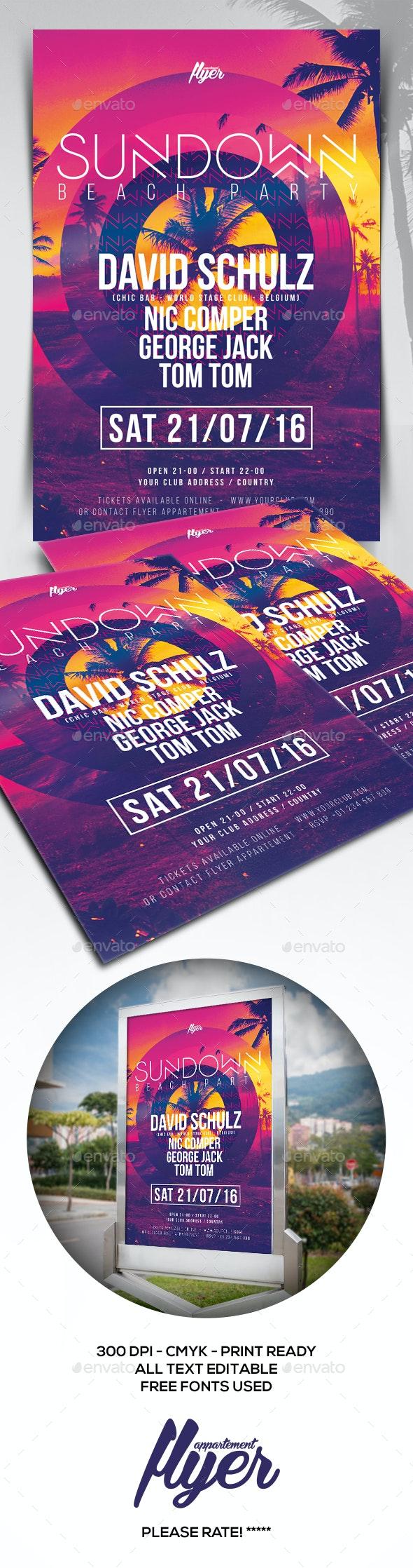 Sundown Beach Party Flyer - Clubs & Parties Events