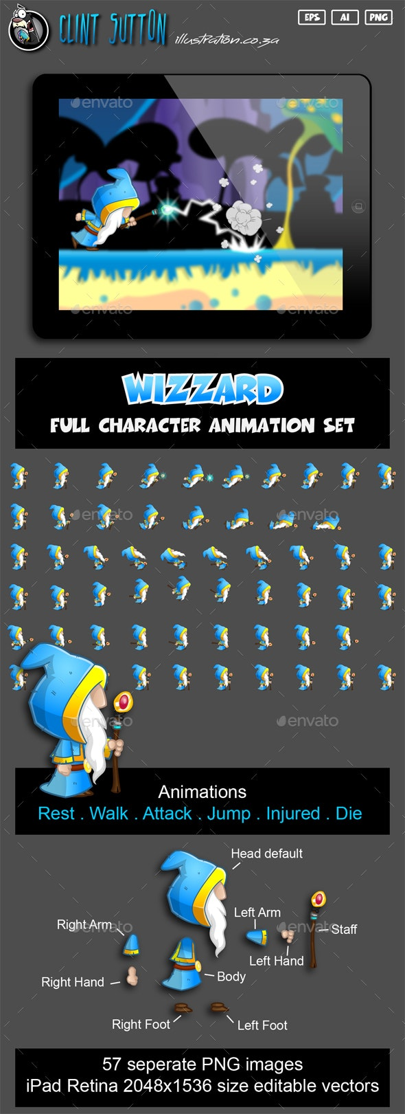 Wizzard Character Set - Sprites Game Assets
