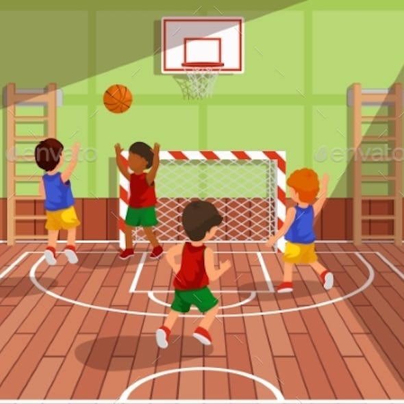 School Basketball Team Playing Game