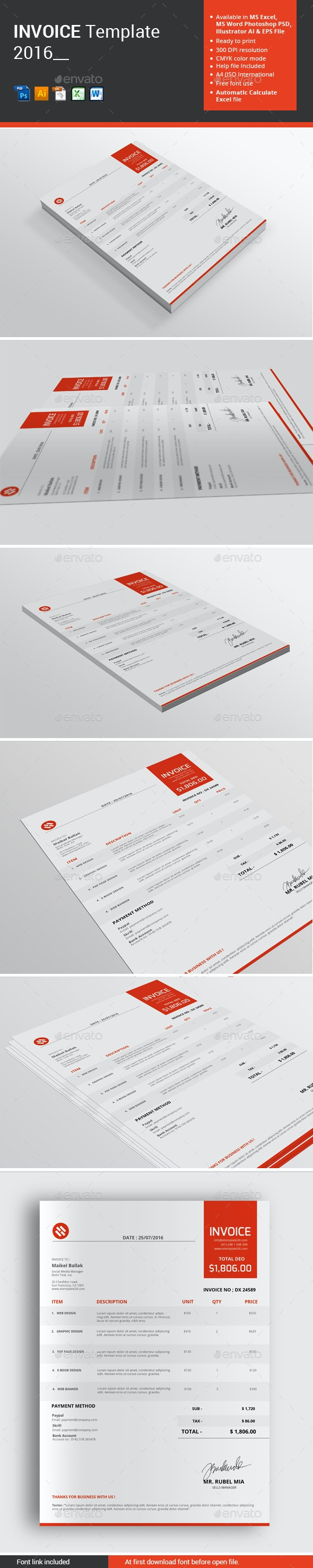 Invoice Template 2016 - Proposals & Invoices Stationery
