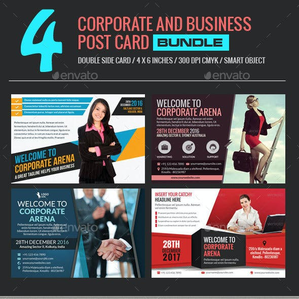 4 In 1 Corporate and Business Post Card Bundle