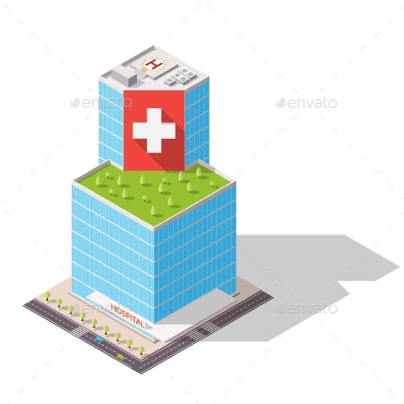 Isometric Hospital High-Tech