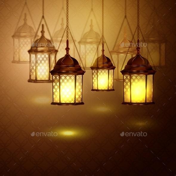 Intricate Arabic Lamps with Lights  - Decorative Symbols Decorative