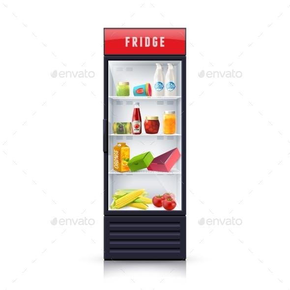 Food in Fridge Realistic Illustration Icon