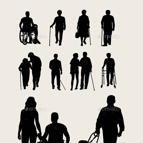 Disabilities and Elderly Silhouettes