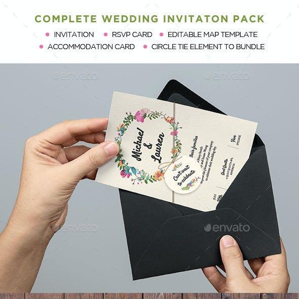 Wedding Invitation. Garden Rustic Theme.
