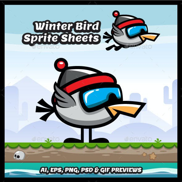Flappy Winter Bird Game Character