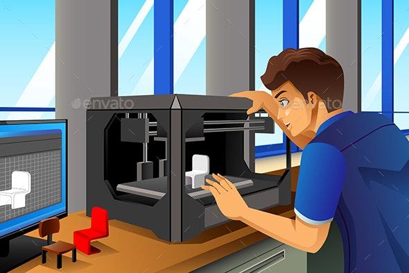 Man Using a 3D Printer - Concepts Business