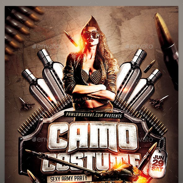 Camo Costume Party PSD Flyer Template