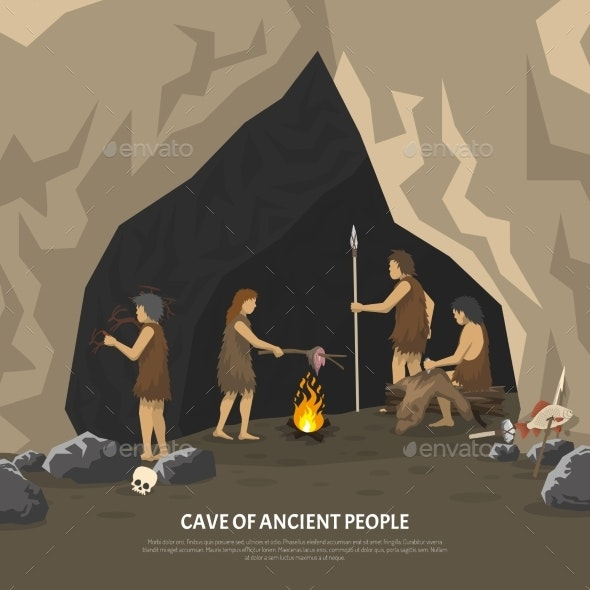 Prehistoric Cave Illustration - People Characters