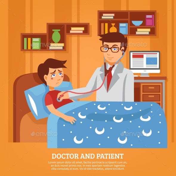 Doctor Attending Patient Home Flat Illustration