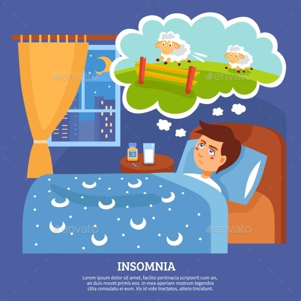 Insomnia People Problems Flat Poster - Health/Medicine Conceptual