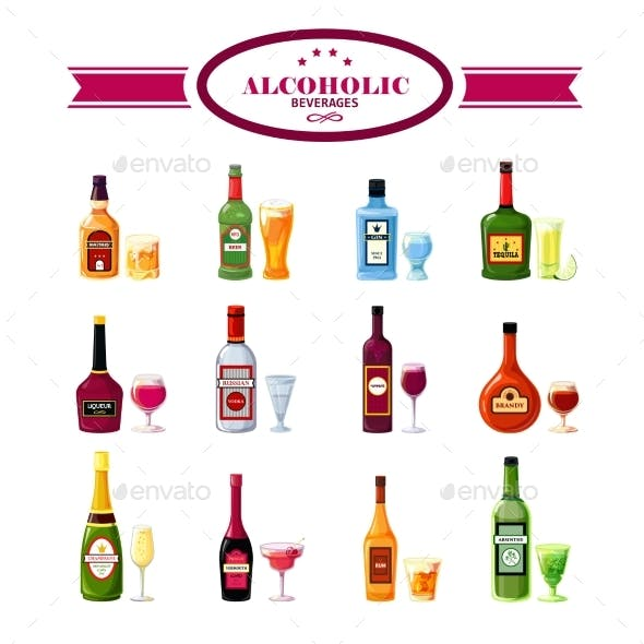 Alcoholic Beverages Drinks Flat Icons Set