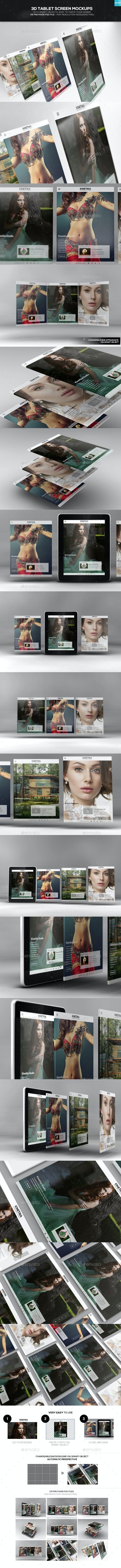3D Tablet Screen Mockups - Mobile Displays