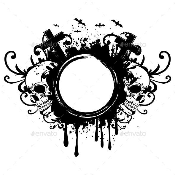 Grunge Frame and Two Skulls