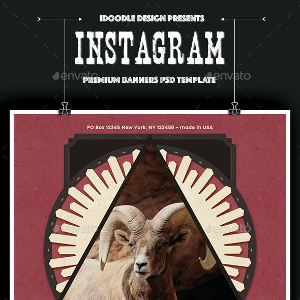 Vintage Instagram Banners Ad - 12 PSD