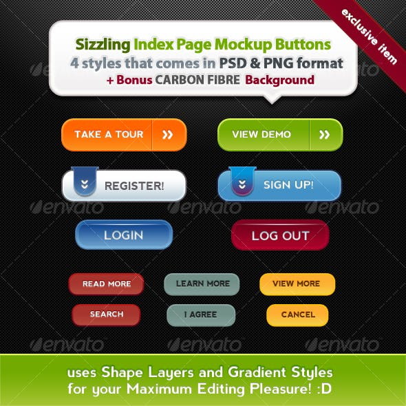 Sizzling Index Page Mockup Buttons
