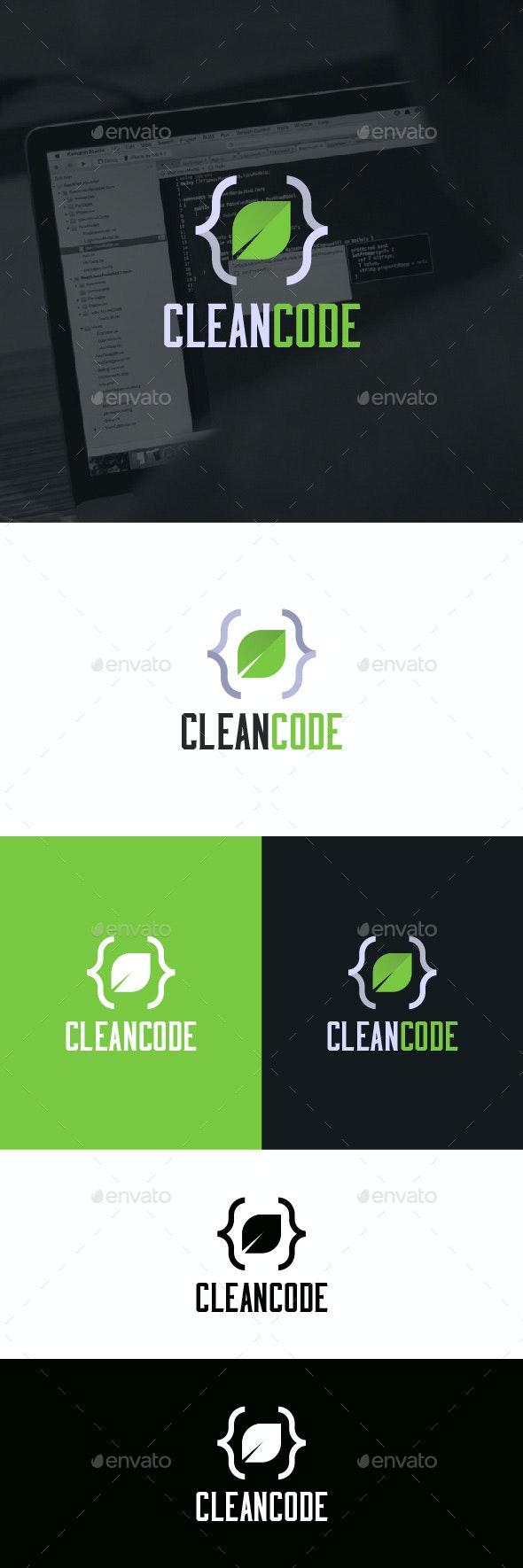 Clean Code Logo Template - Symbols Logo Templates