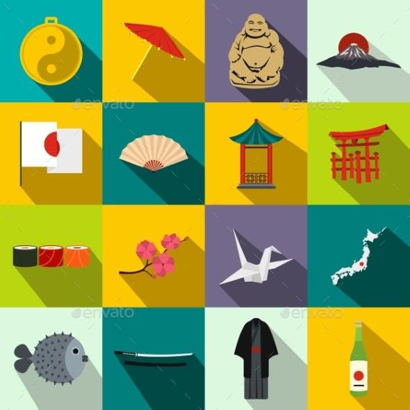Japan Icons Set Flat