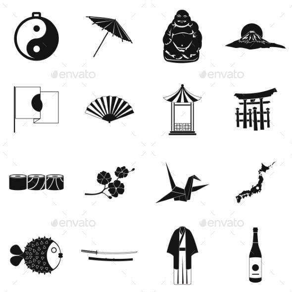 Japan Icons Set Black