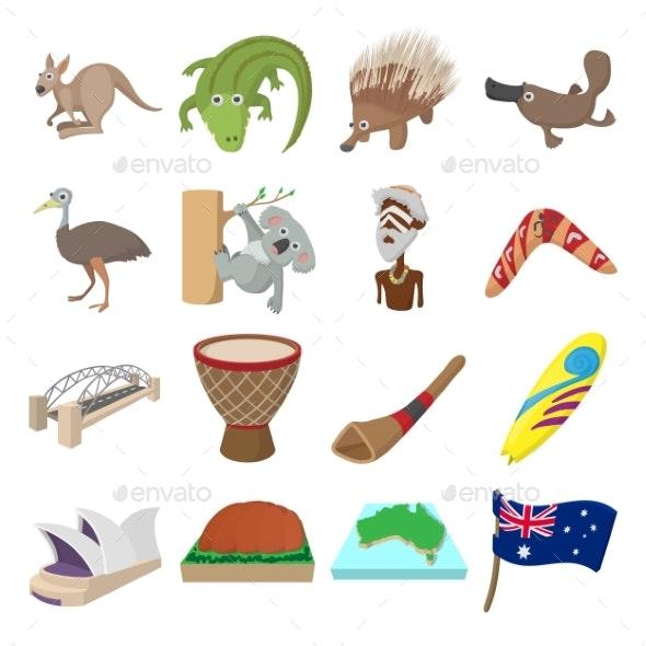 Australia Icons Cartoon
