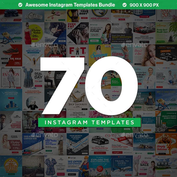 Multipurpose Instagram Templates - 70 Designs