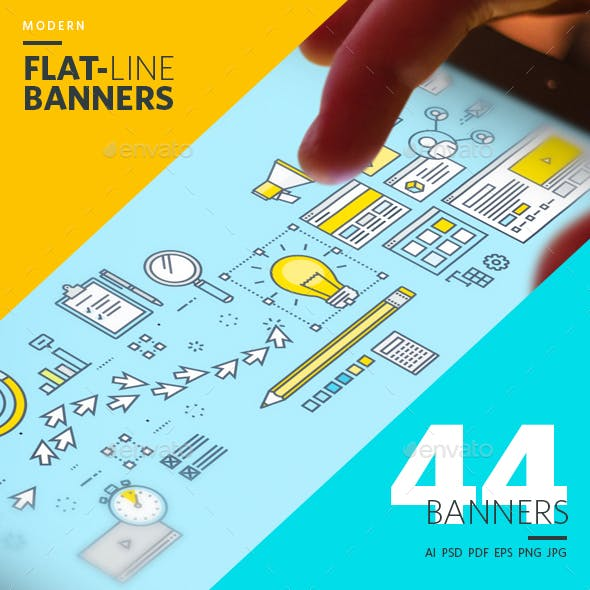 Set of Modern Flat Line Banners