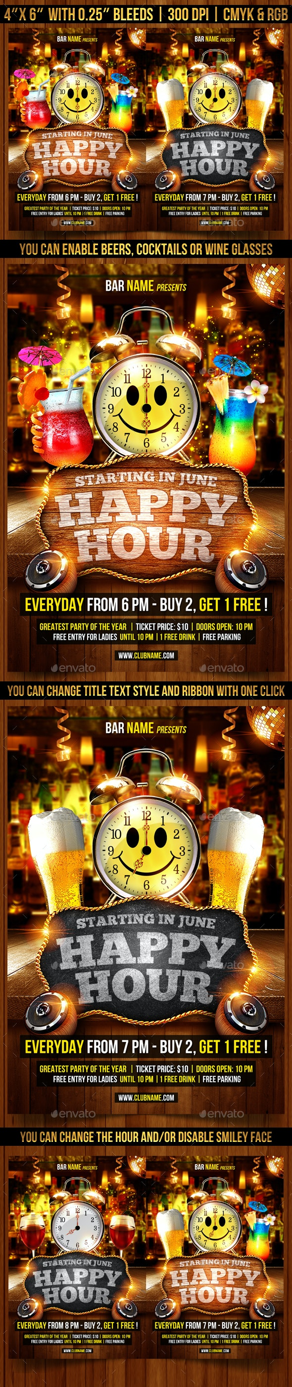 Happy Hour Flyer Template - Clubs & Parties Events