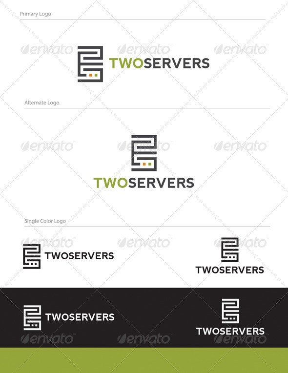 Two Servers Logo Design - OBJ-005 - Objects Logo Templates