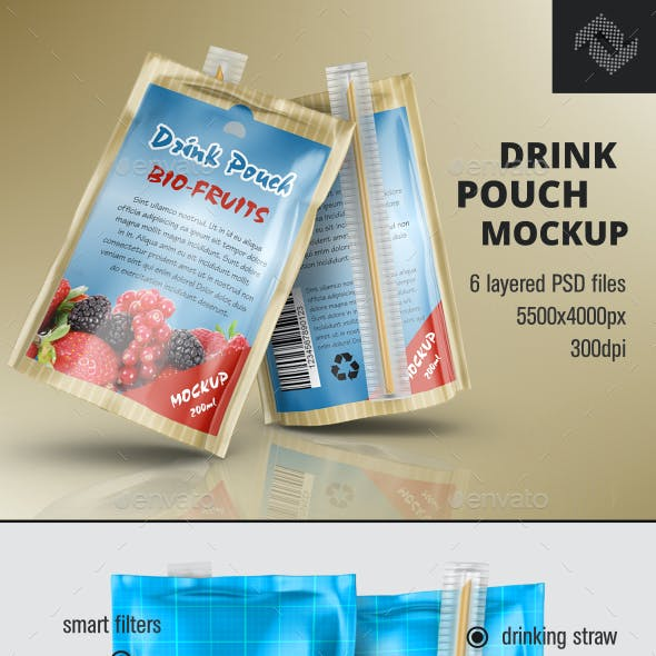 Laminated Foil Drink Pouch Mockup