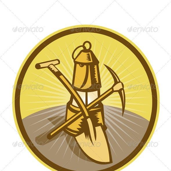 Coal Miner Lamp Pick Axe Shovel Retro