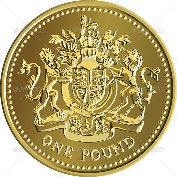 Vector British Money Gold Coin One Pound