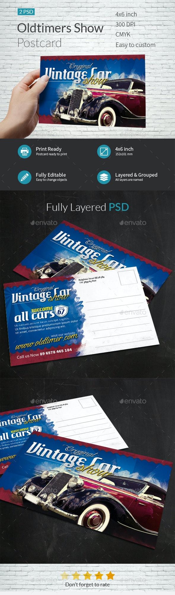 Vintage Cars Event Postcard Template - Cards & Invites Print Templates